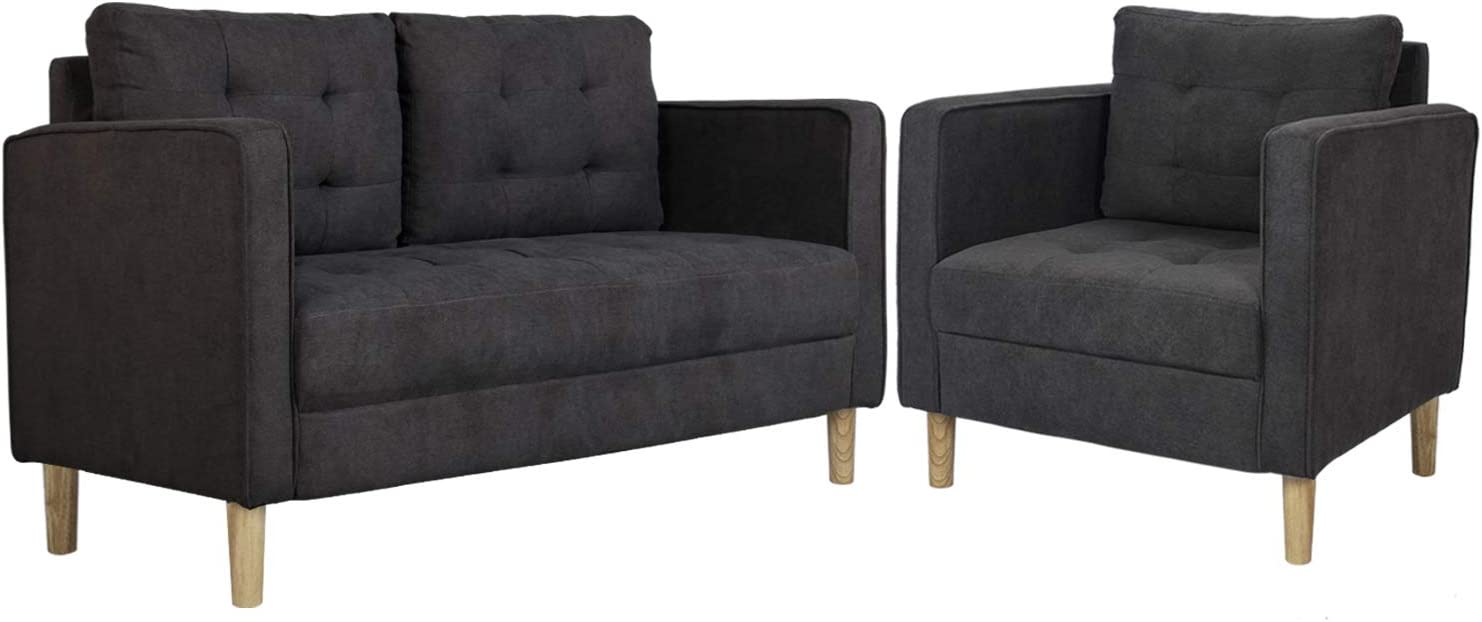 """AODAILIHB 55""""/30"""" Modern Soft Cloth Tufted Cushion Loveseat Sectional Sofa Set Small Space Configurable Couch Set of 2 (Gray)"""