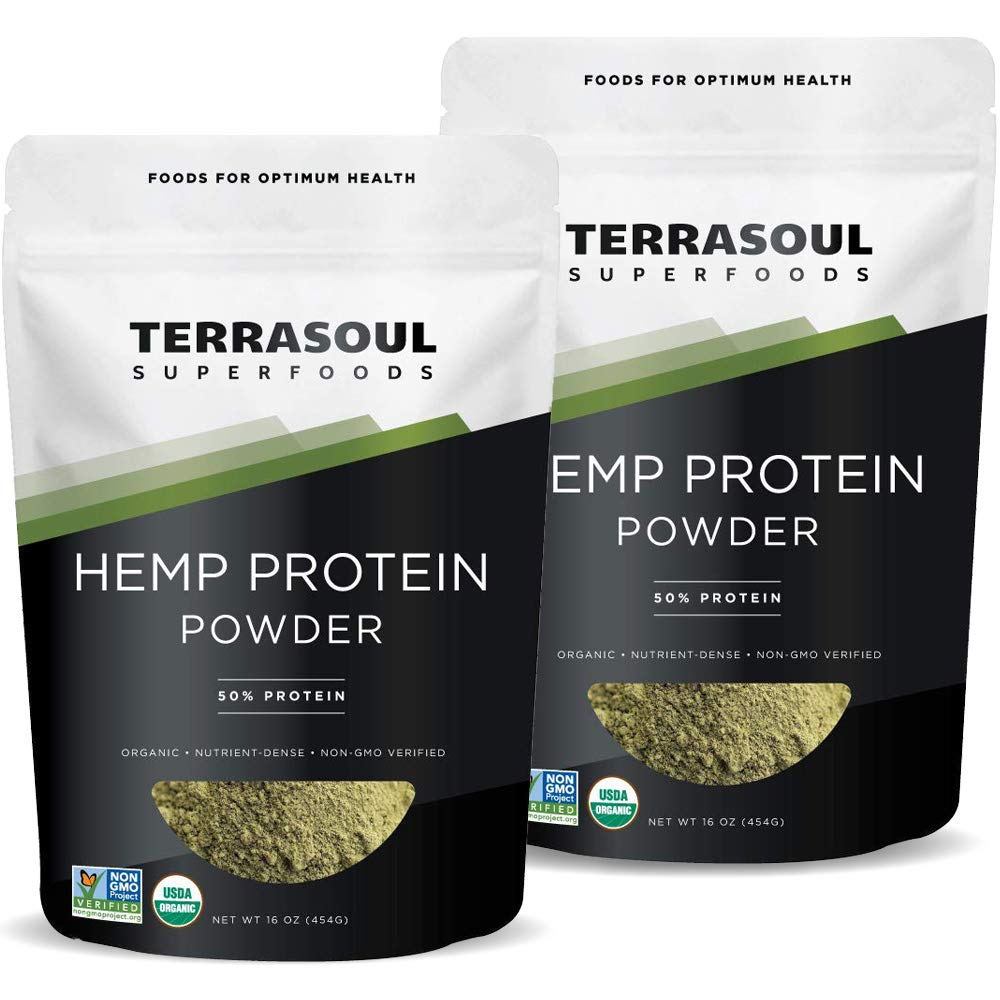 Terrasoul Superfoods Organic Hemp Protein Powder (50% Protein), 2 Pounds