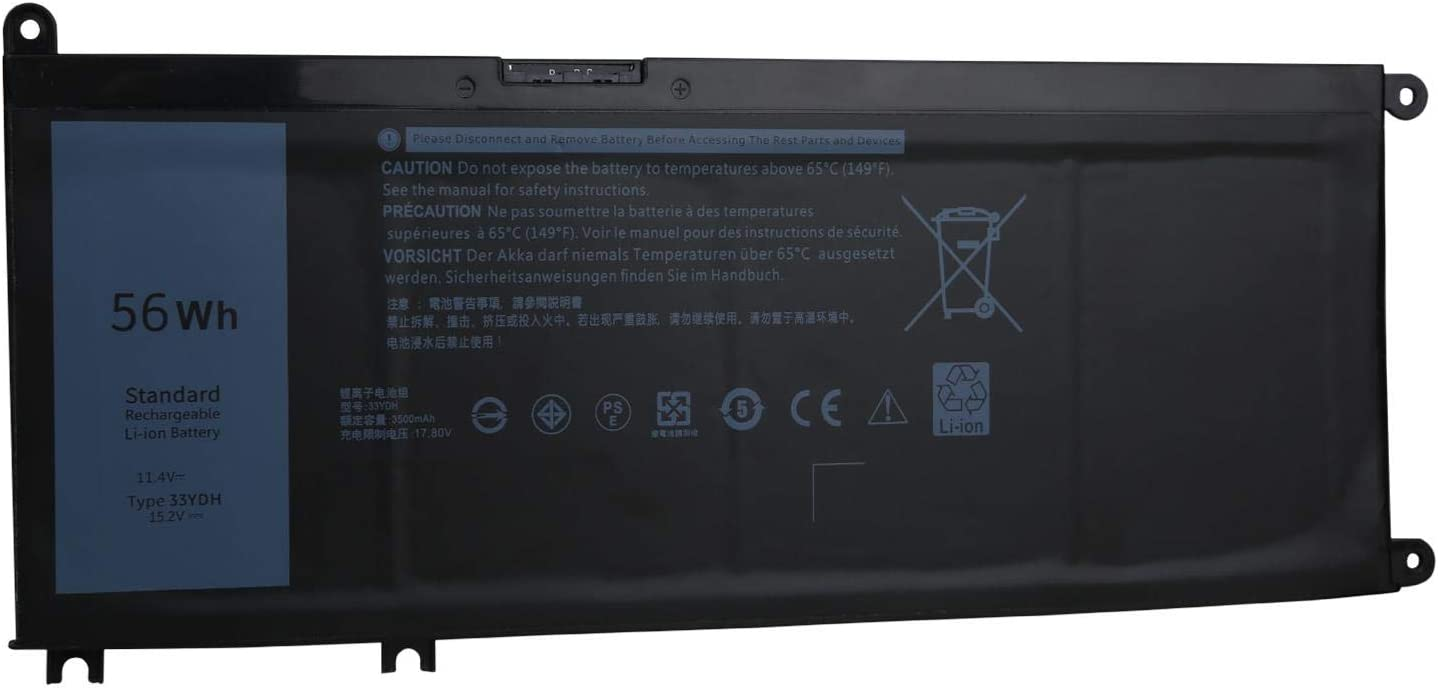 OYISIYI 33YDH Laptop Battery for Dell Inspiron 15 7577 17 7000 7773 7778 7779 7786,G3 3579 3779 G5 5587 G7 7588,Latitude 13 3000 3380 14 3490 15 3580 3590,Vostro 15 7580 7570 99NF2 PVHT1 81PF3 P30E