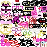 Coceca 82PCS Bachelorette Party Photo Booth Props Selfie DIY Props Including Mustaches Glasses Hats Lips Ties Crowns for Bachelorette Party Girls Night Out Game