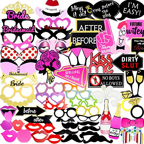 Coceca 82PCS Bachelorette Photo Booth Props Selfie DIY Props for Bachelorette Party Girls Night Out Game