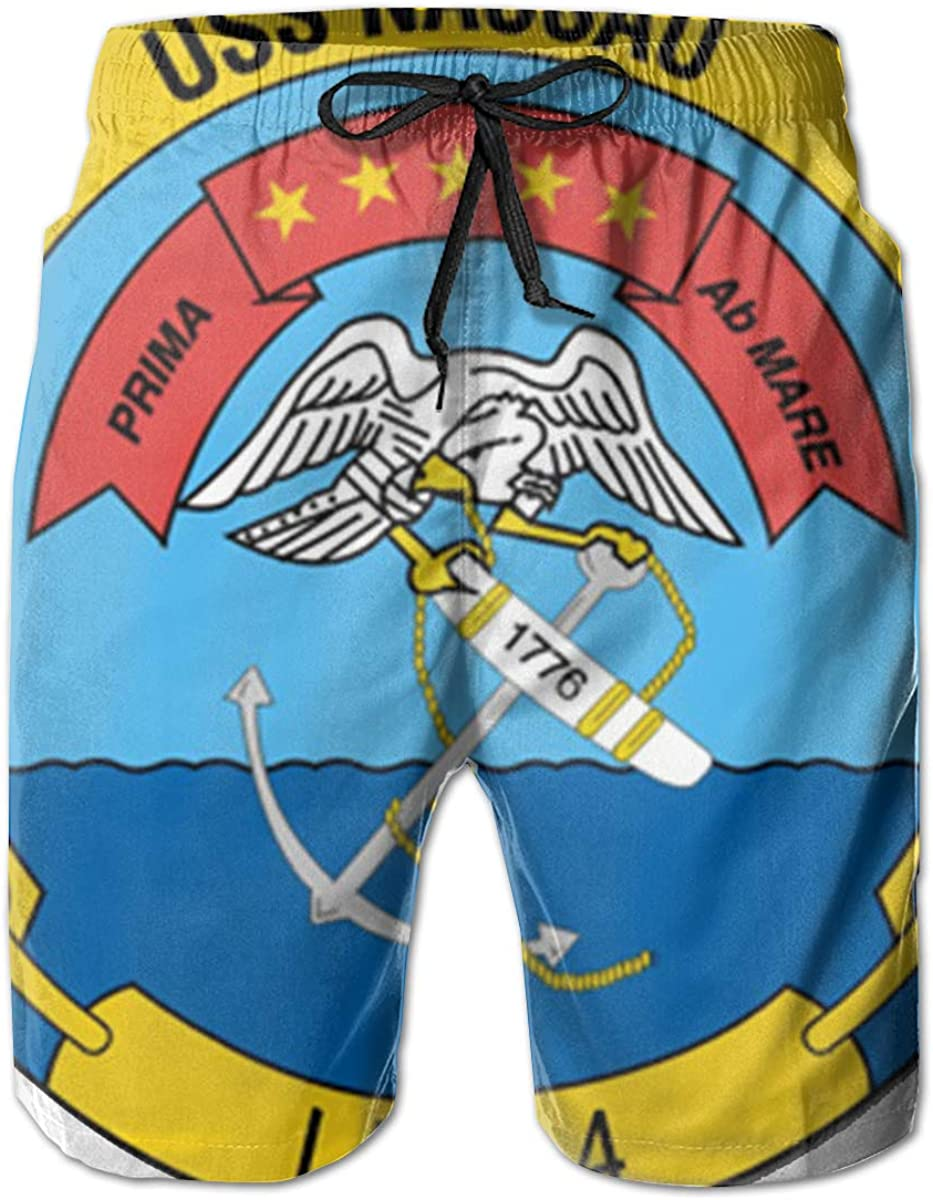 Navy USS Nassau LHA-4 Vinyl Transfer Mens Casual Classic Fit Short Summer Beach Shorts