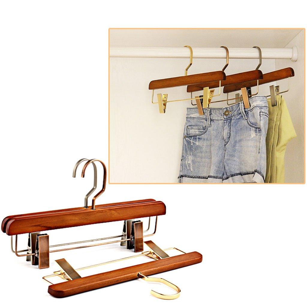 Non-slip- Hanger Hotel Trousers Rack Wooden Clothing Shop Pants Clip Wooden Pants Clip Hanger 4 Pack hanger (Color : Nickel plating)