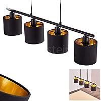 Hanglamp Alsen, vintage hanglamp van metaal/stof in zwart/goud, 4-vlam, 4 x E14 max. 28 Watt, hoogte max. 153 cm…