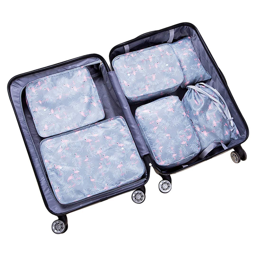 Stephenie 6pcs Different Size Set Travel Suit Bag Suitcase Waterproof Space Saver Bags Cube For Seasonal Clothes,Underwear Tourist Shoes Built-in clasp Travel Storage