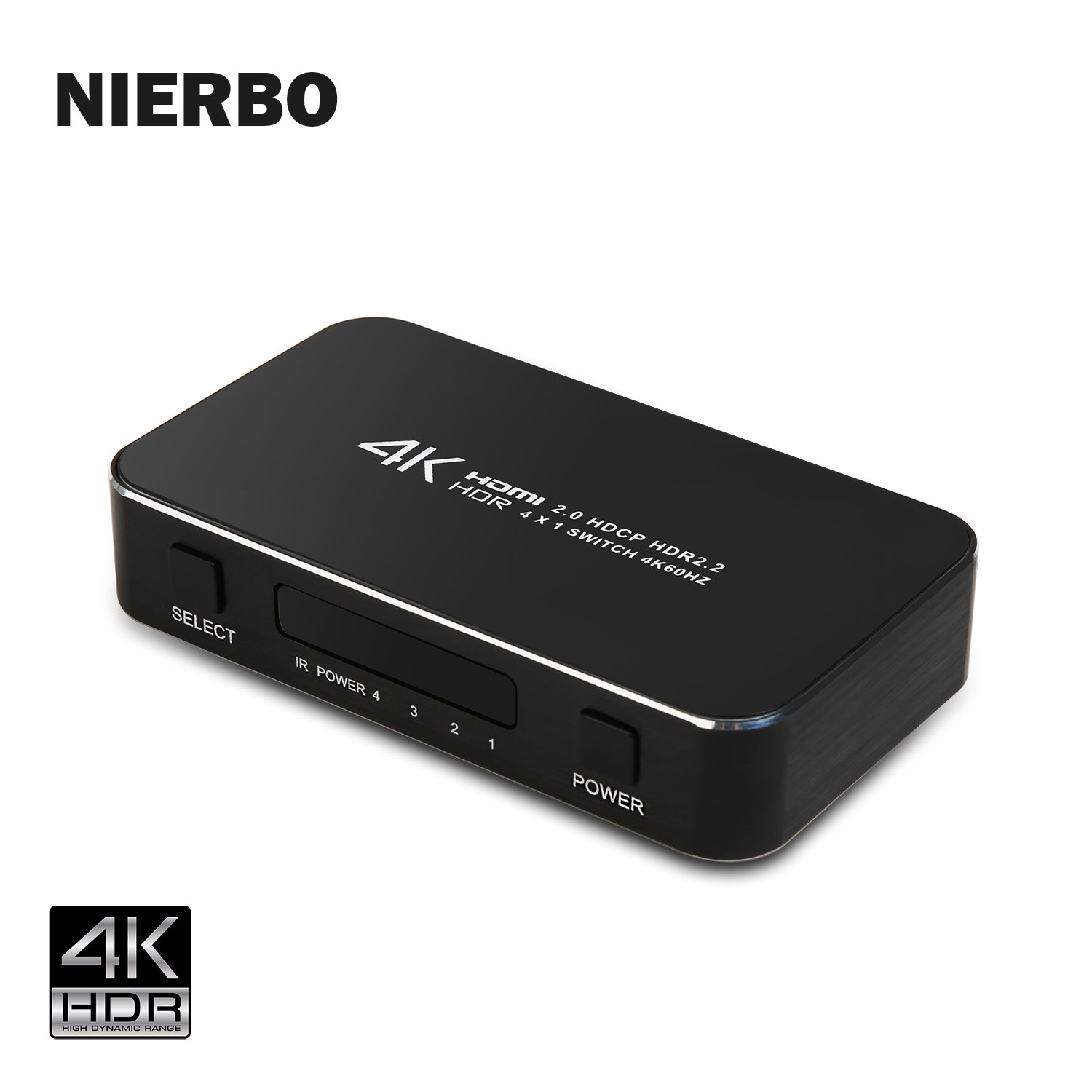 HDMI Switcher with an IR Remote 4 Input 1 Output, NIERBO Switch HDMI 4x1 4K x 2K HDMI Switch 4k @ 60Hz 2.0 Version Full HD 1080P HDCP Switcher 3D for HDTV PS3 PS4 BLU-Ray DVD TV Projector