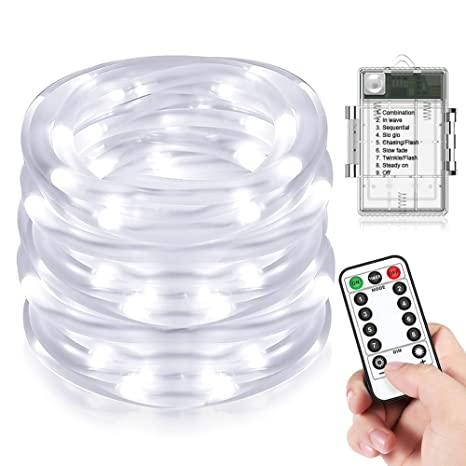 Amazon led rope lights beiwas battery operated waterproof led rope lights beiwas battery operated waterproof 33ft string lights 8 mode dimmable fairy lights aloadofball Gallery
