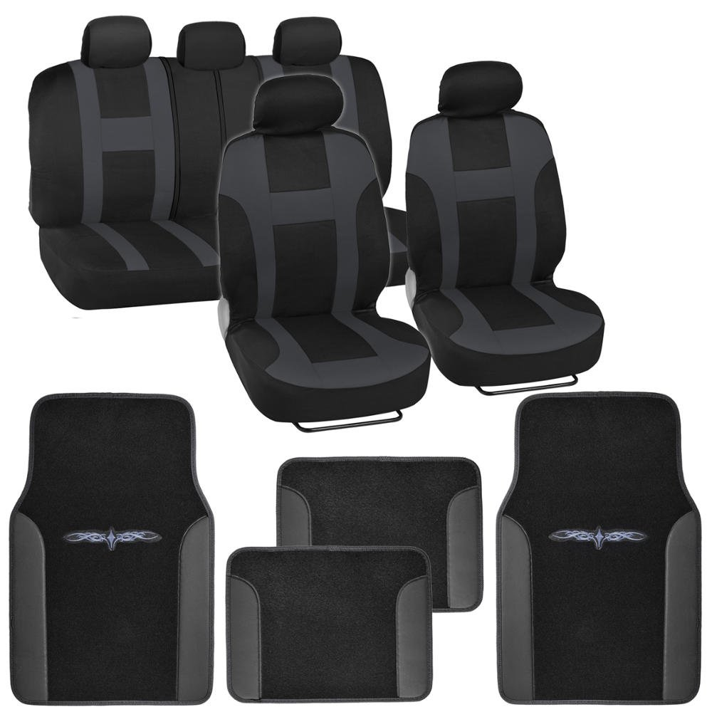 Black & Pink Car Seat Covers w/ Split Bench & Light Pink Two Tone Carpet Floor Mats Full Set BDK