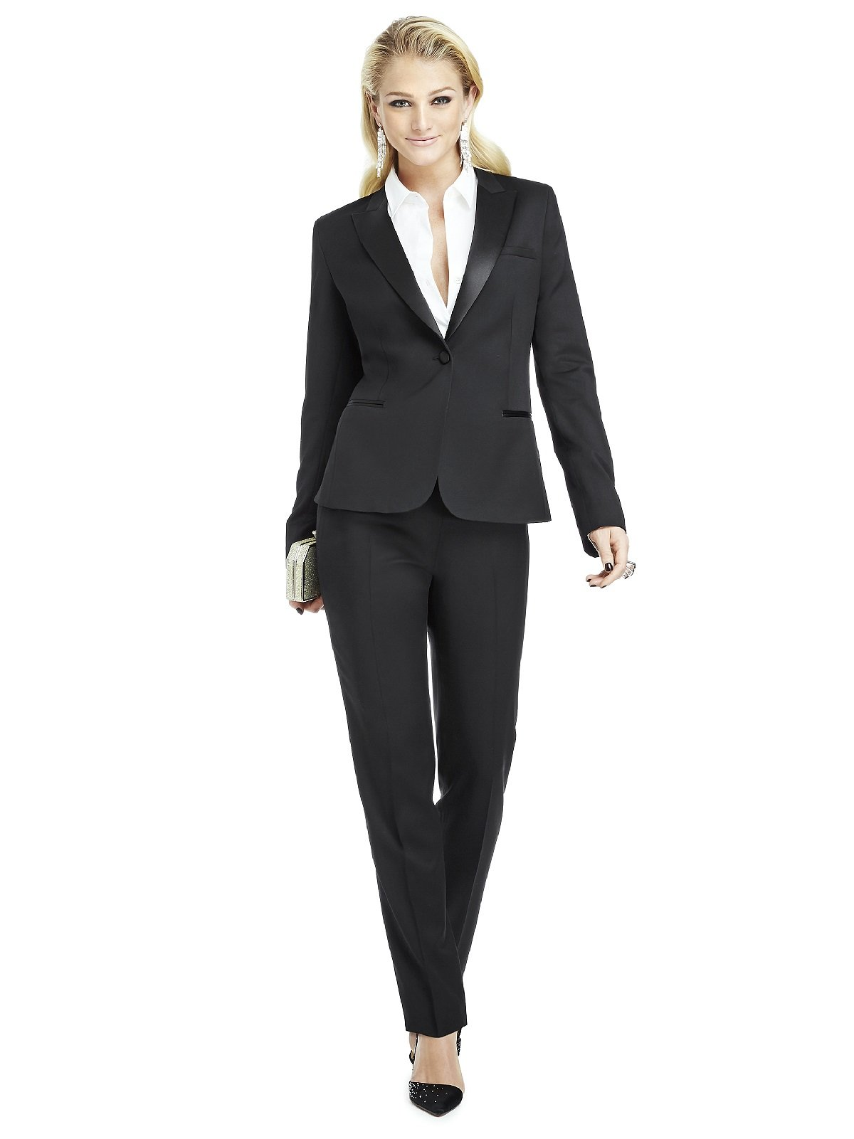 Women's Marlowe Peak Collar Wool Tuxedo Jacket by Dessy Group - Black - Size 18