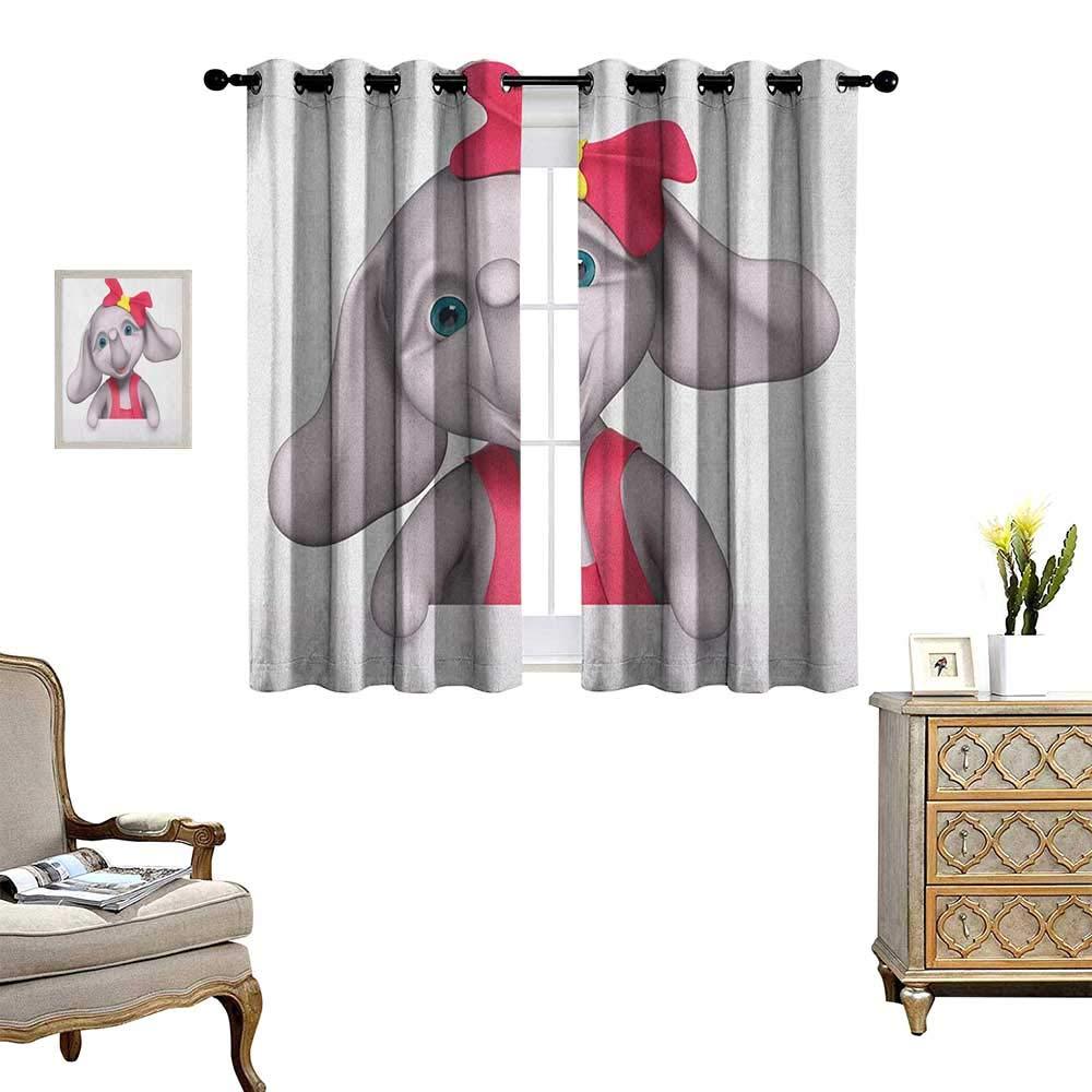 暖かいファミリーエレファント 保育園 遮光 ウィンドウカーテン ベビー 象 蝶のデザイン カスタマイズカーテン 幅55×長さ39グレーペールピンクホワイト W55