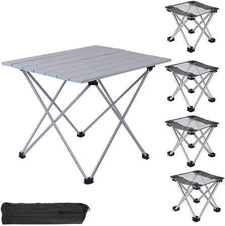 FIONAT Mesa de Camping Plegable con Sillas, Mesas Plegables ...