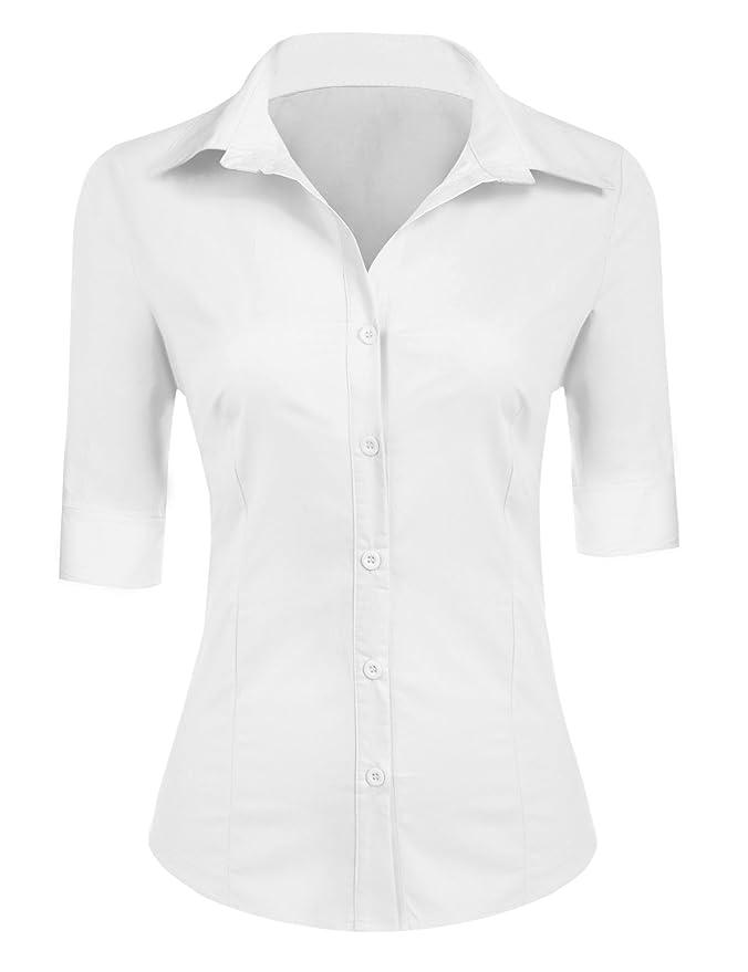 10 opinioni per BeautyUU Camicia Donna Manica 3/4 Camicie Basic Camicetta Casual Shirt Camici