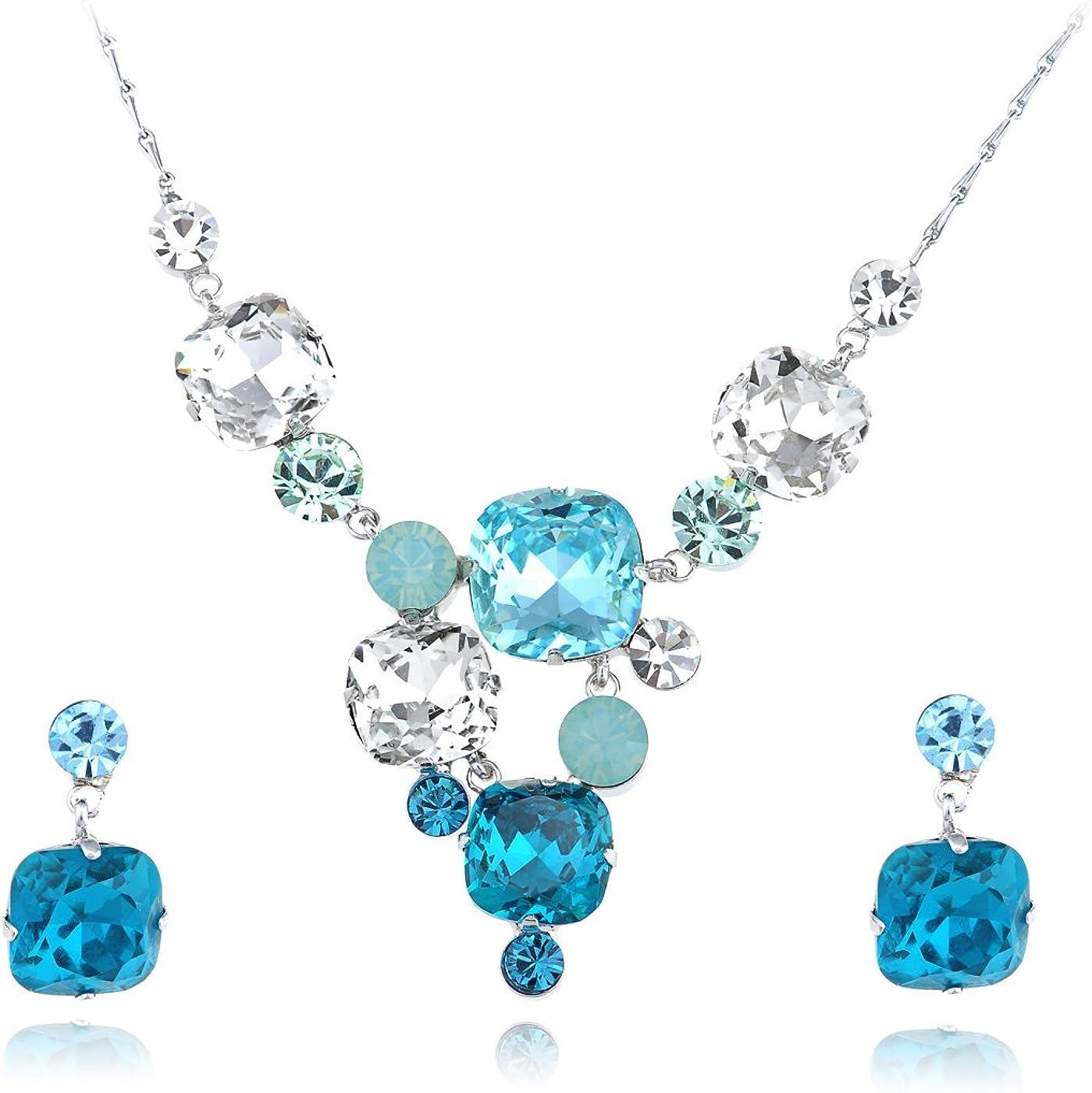Alilang Aqua Gradient Rectangle Bunch Swarovski Crystal Element Earring Necklace Set
