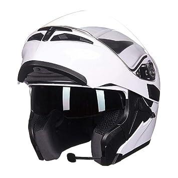 WMING Motocicleta Bluetooth Casco, Multi-Función De Doble Lente Anti-Niebla Casco con