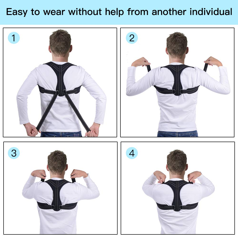 Posture Corrector, Back Support Brace, Posture Correction for Upper Back, Shoulder & Clavicle Area, Adjustable Front Back Belt Breathable Straps, Shoulder Brace Help to Improve Posture for Men & Women
