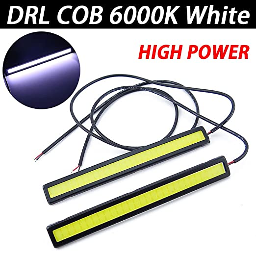 TABEN Universal Impermeable Coche Camiones 17 cm Luz de circulación diurna Super brillante 3W 12V Tiras LED COB Coche Led Luz antiniebla (Juego de 2): ...