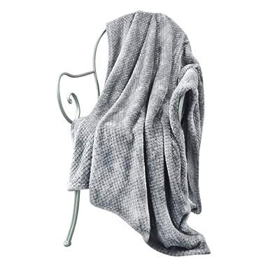 LEWONDER Throw Blanket, Flannel Plush Soft Blanket, Light Weight Warm Blanket, Grey 60 x 80in