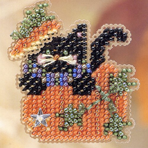 Black Kitty Magic Beaded Counted Cross Stitch Halloween O...