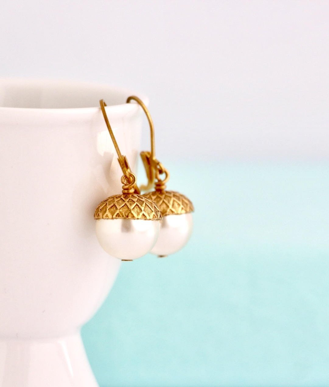 Acorn Dangle Earrings Ivory Simulated Pearl Lever-back Ear Wires