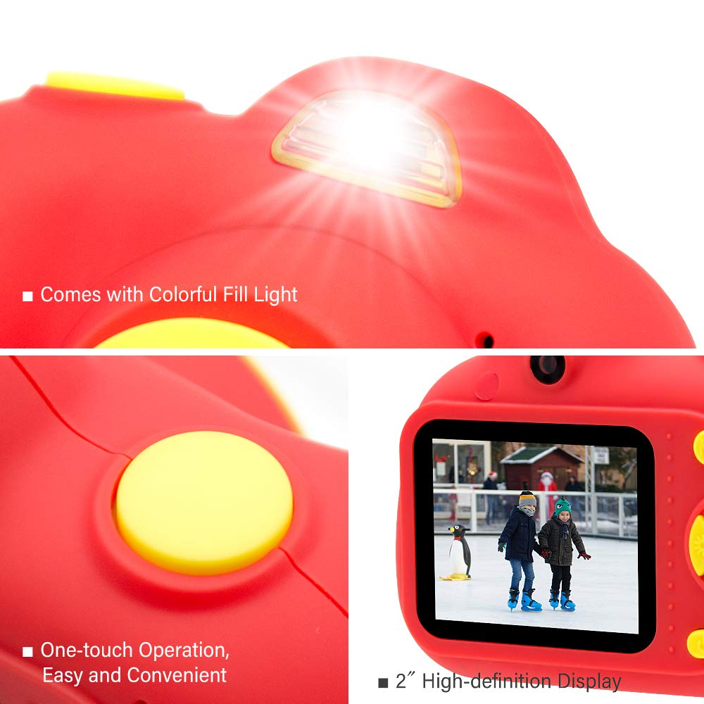 [16GB Memory Card Included] Veroyi Kids Camera 8.0MP Rechargeable Digital Front and Rear Selfie Camera Child Camcorder, Toys Gift for 4-10 Years Old Boys and Girls (Red) by Veroyi (Image #8)