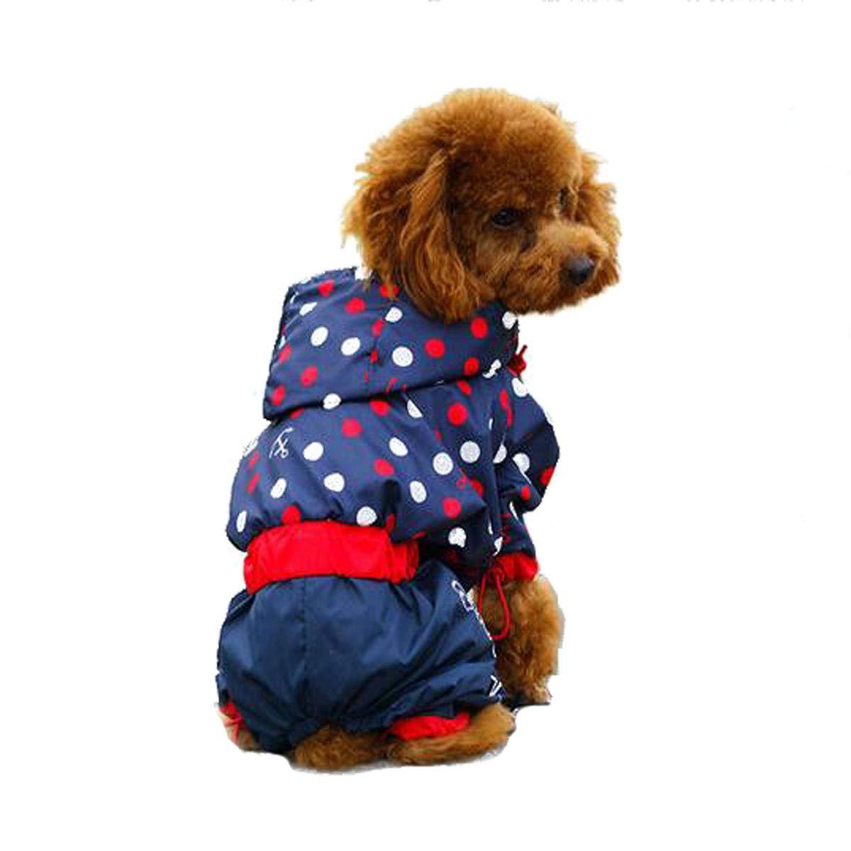 bluee 16  bluee 16  Qiyuezhuangshi Puppy Raincoat, Pet Waterproof Suit, Teddy Four-Legged Raincoat Exquisite (color   bluee, Size   16 )
