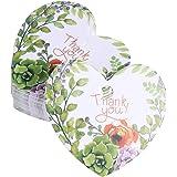 BESTOYARD ギフトタグ 値札 紙タグ サンキューカード Thank you カード ハート型 50枚セット ギフトハングラベル