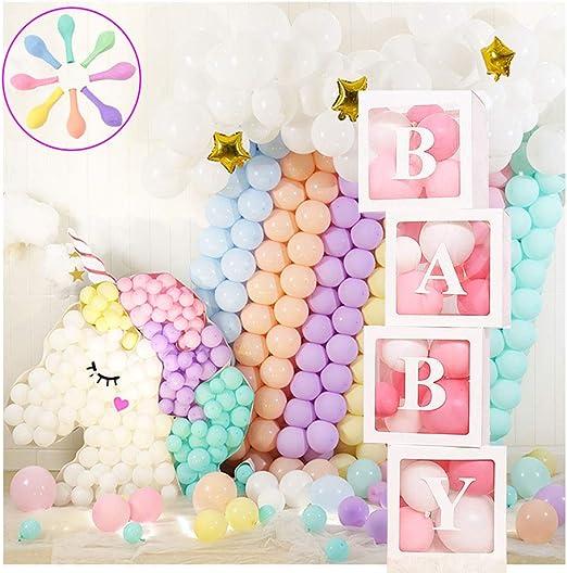 Jewaytec Decorazioni per Box Doccia per Bambini, Scatole per Palloncini Trasparenti da 4 Pezzi con Blocchi per Baby Shower per Lettere per Feste,