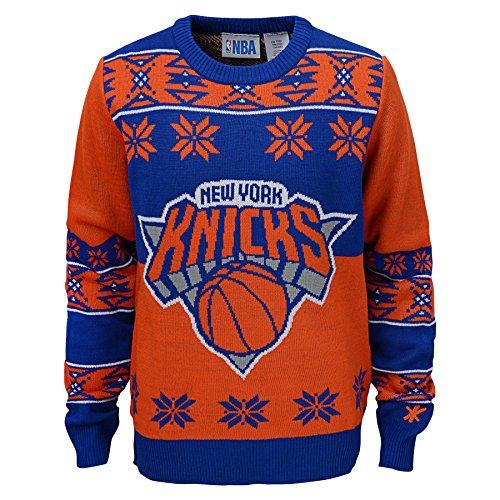 NBA New York Knicks Youth Boys Long Sleeve Ugly Sweater, Royal/Orange, Large (14/16)