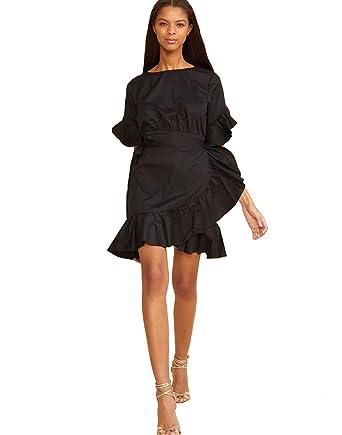 4e5f09f96dd Amazon.com  Cynthia Rowley Women s Black WallFlower Ruffle Wrap Dress   Cynthia Rowley  Clothing