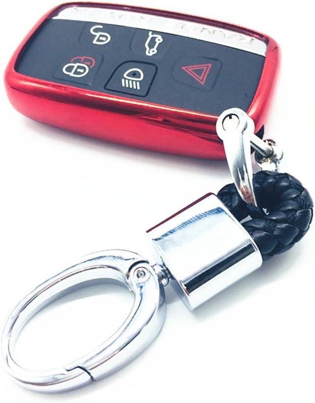 YUWATON Cl/é de voiture Coque pour t/él/écommande de voiture pour Land Rover Range Rover Evoque Freelander Discovery Cl/é de voiture Coque porte-cl/és silver