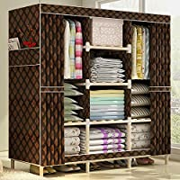 HHAiNi Super Large Clothes Closet Organizer Storage Rack Wooden Wardrobe Portable Home Garment Hanger, Double Rods for Long Hanging Space