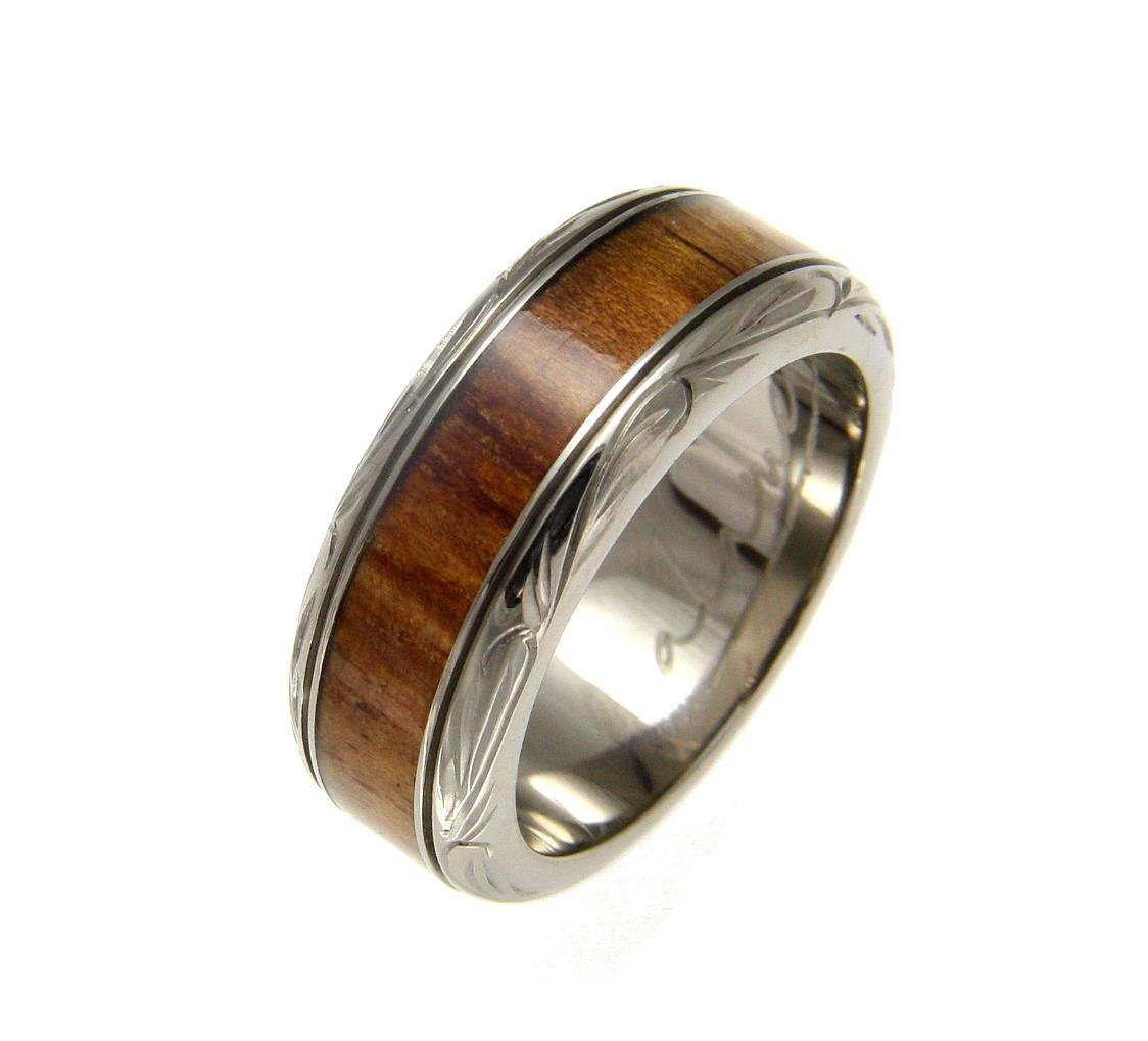 Genuine inlay Hawaiian koa wood wedding band ring titanium scroll 8mm size 6.5