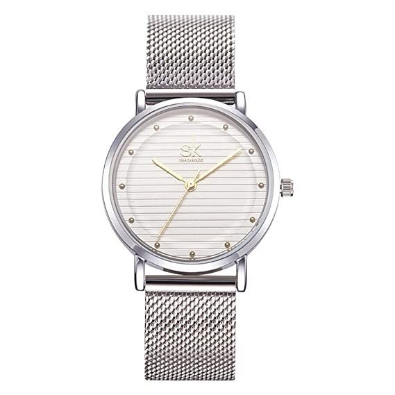 SHENGKE Womens Stainless Steel Mesh Strap Business Analog Quartz Wristwatch(Gold)