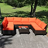 Yongcunsho Outdoor Sofa Patio Furniture Sofa Backyard Aluminum and PE Wicker Rattan Set 9 Piece Set Orange Cushion Brownish Black Rattan 9 Set