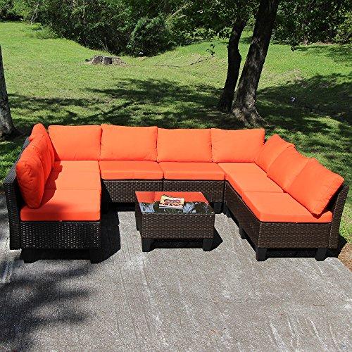 Yongcunsho Outdoor Sofa Patio Furniture Sofa Backyard Aluminum and PE Wicker Rattan Set 9 Piece Set Orange Cushion Brownish Black Rattan 9 Set