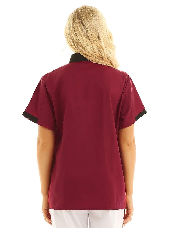 IEFIEL Camisa de Cocinero Camiseta Manga Corta Unisexo para Hombre Mujer Chef Escudo Uniforme de Trabajo Cocina Hotel Restaurante
