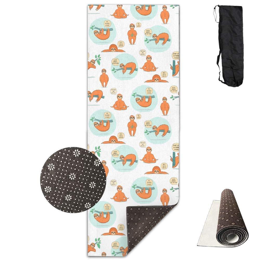 Cartoon Sloth Yoga Mat Towel for Bikram Hot Yoga, Yoga and Pilates, Paddle Board Yoga, Sports, Exercise, Fitness Towel
