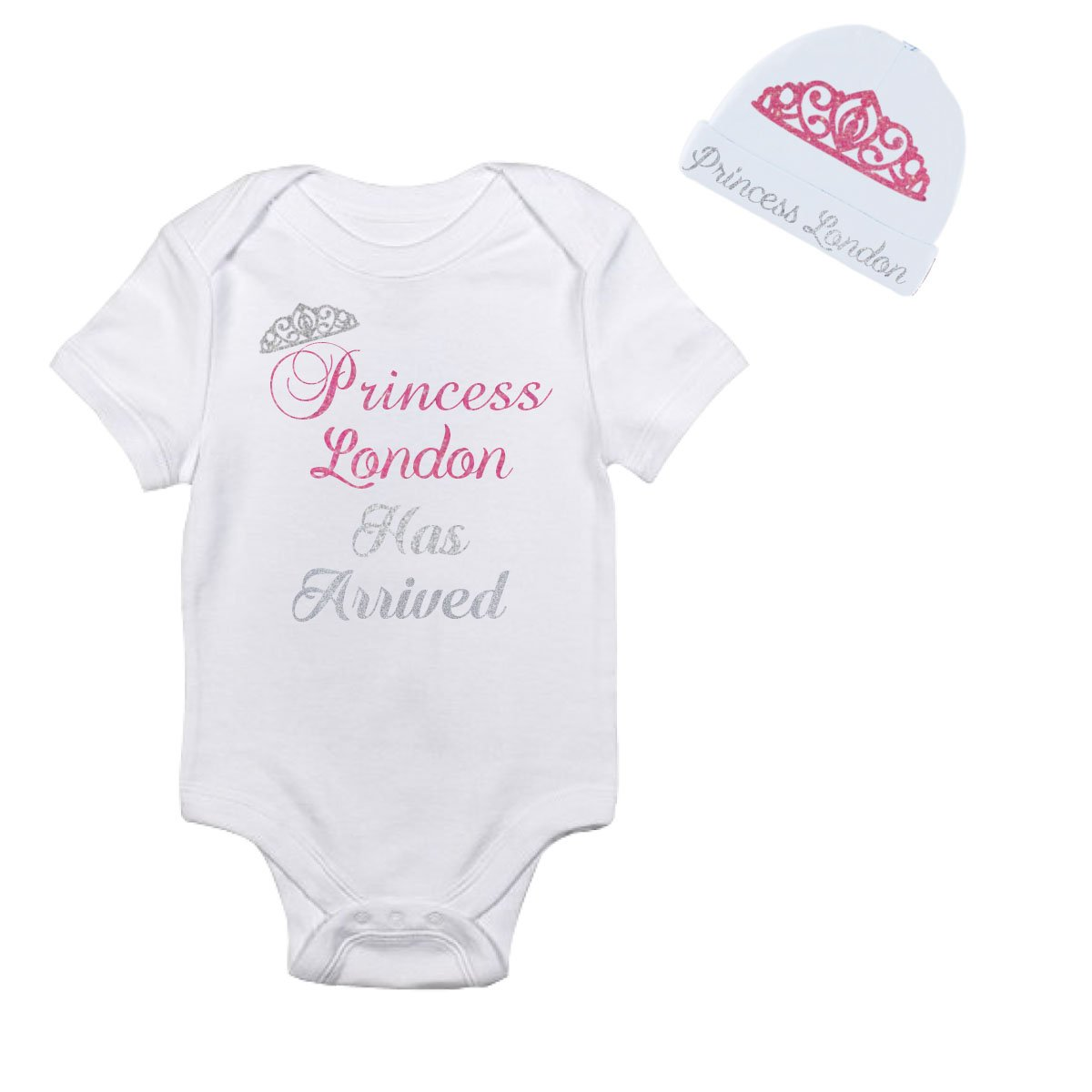 09d359bff Amazon.com: Sparkle Princess has Arrived Personalized with Hat Baby Onesie  Bodysuit: Clothing
