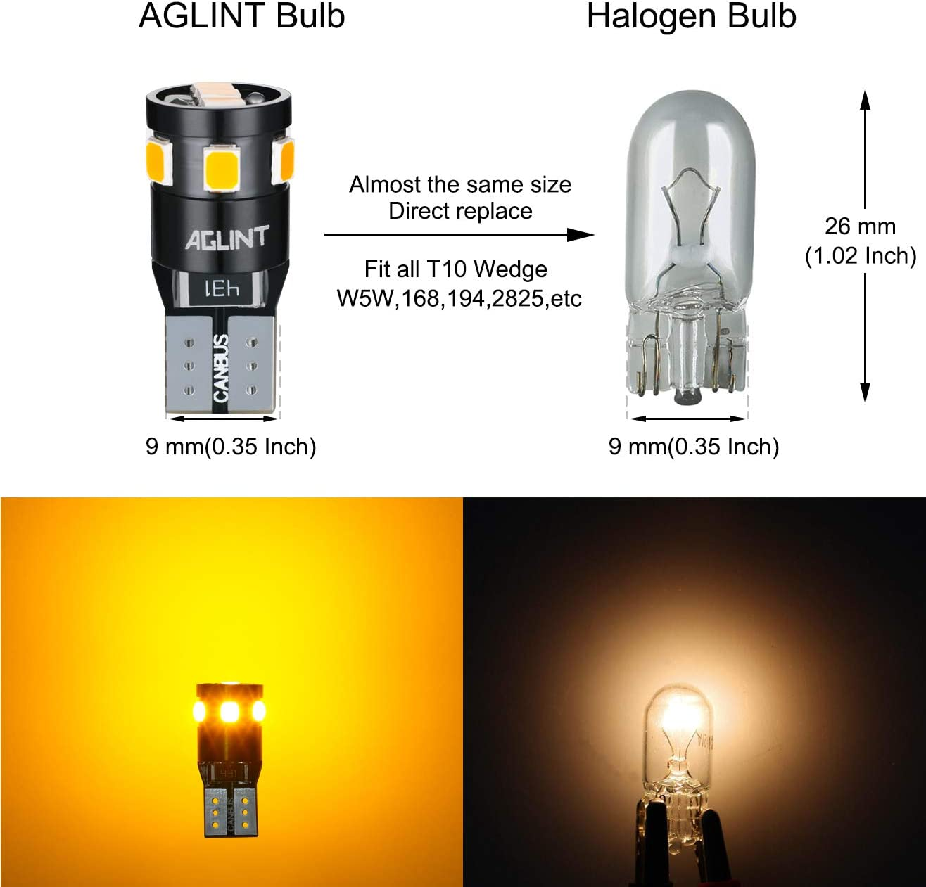 RED AGLINT T10 LED Bulbs CANBUS Error Free 9SMD Super Bright W5W 194 168 2825 Wedge Replacement Bulb for Car Interior Dome Map Boot Door Sidelight Number Plate Lights 4PCS