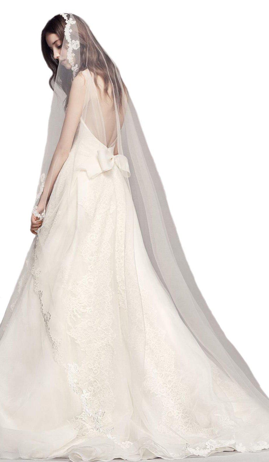 Passat Diamond White Single-Tier 3M Cathedral Scalloped Lace Edge veil bridal DB83