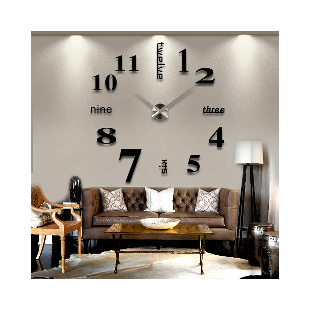 English Letters Arabic Numbers Elegant Large DIY Frameless 3D Mirror Surface Effect Wall Clock Oversized Time Hours Clock Home Decoration Living Room Décor Wall Sticker Decal Decor Watches (Black)