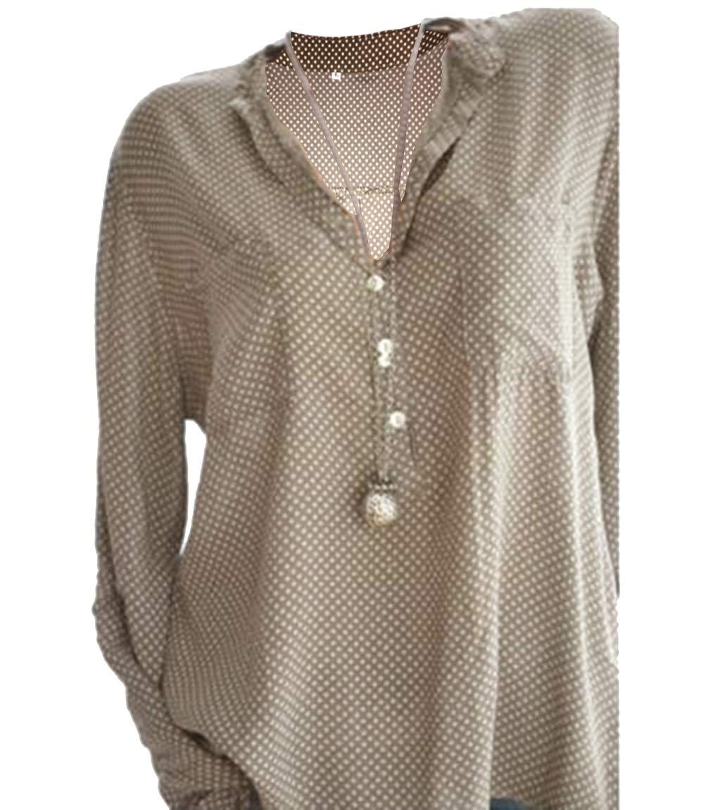 UR Angel Damen Freizeit V-Ausschnitt Manschetten-Ärmel Locker Punkte Taschen Shirt Bluse