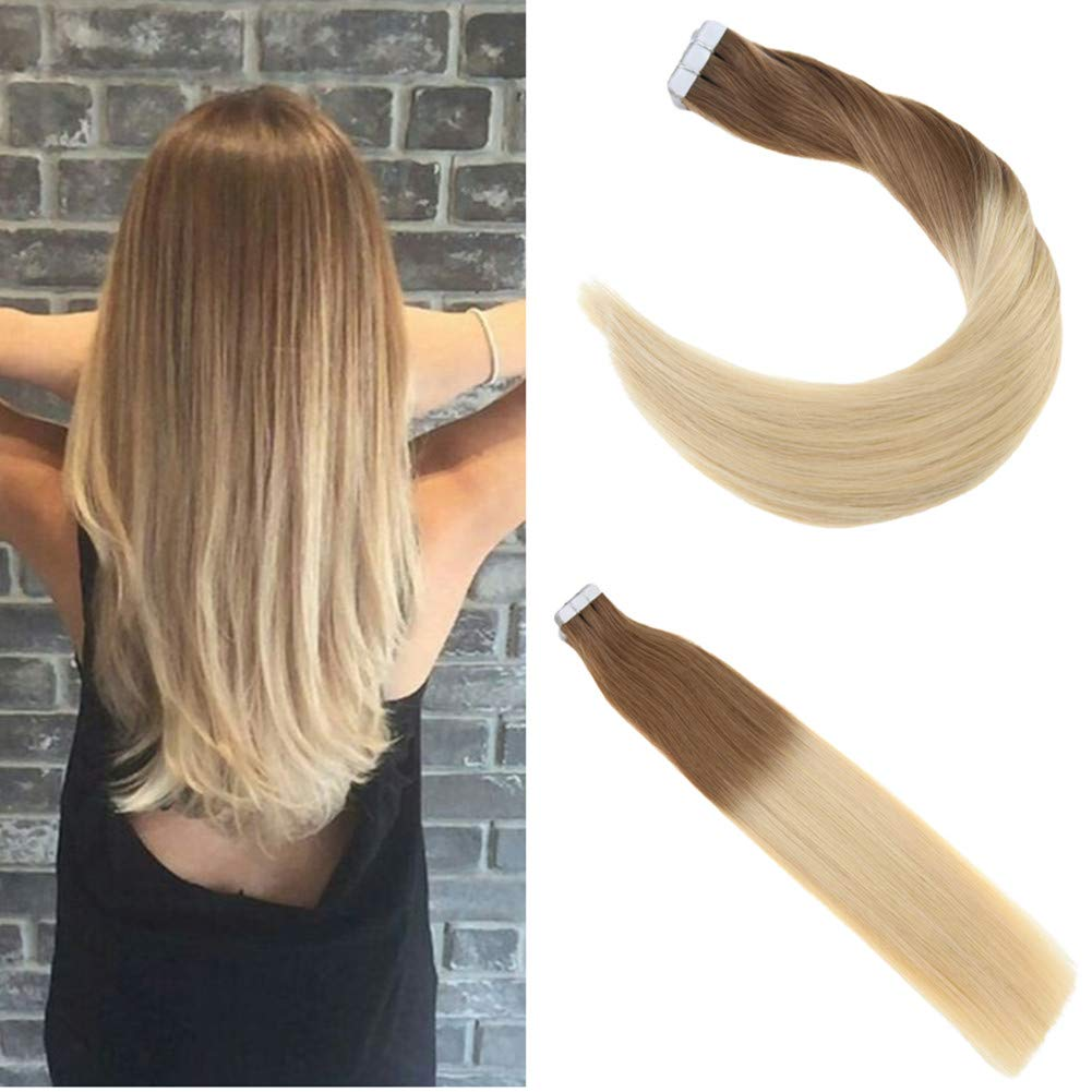 Amazon Ugeat 14inch Tape In Hair Extensions Ombre Light Brown