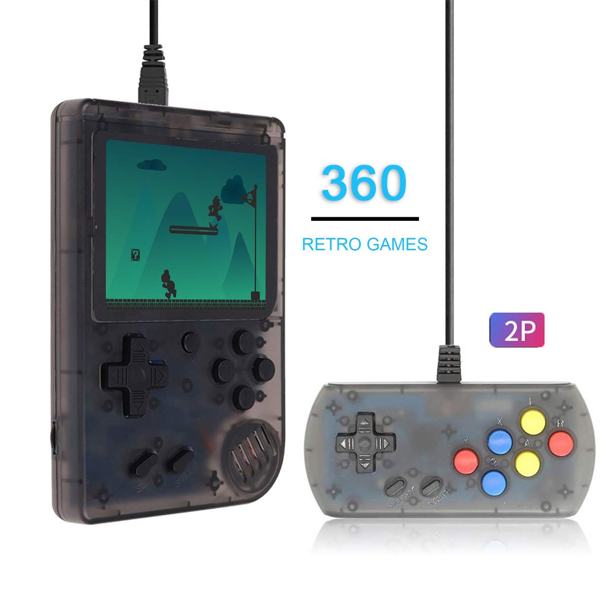 Efunlife Handheld Game Console, 360 Classic Games 3 Inch LCD Screen with 2 Player Controller Portable Retro Game Console Support AV Out TV, Good Gift for Boy Kids