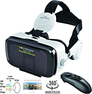 VR Headset Virtual Reality Headset 3D Glasses with 120°FOV, Anti-Blue-Light Lenses, Stereo Headset, for All Smartphones with Length Below 6.3 inch Such as iPhone & Samsung HTC HP LG etc (WR)
