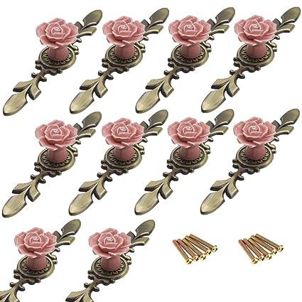10pcs Vintage Rose Flower Ceramic Door Knobs Handle Drawer White PK