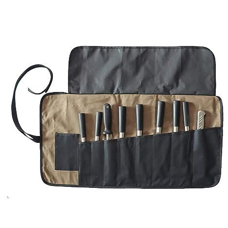 QEES - Bolsa para Cuchillos de Chef, 9 Ranuras, Impermeable, Bolsa para Herramientas, Resistente Estuche de Almacenamiento para Cuchillos, Color Caqui