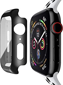 baozai Compatible with Apple Watch 44mm Case with Built-in Tempered Glass Screen Protector, Full Coverage Hard iWatch Case for Series 6/5/4/SE (Matte Black, 44mm Series 6/5/4/SE)