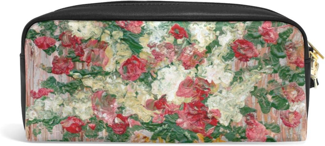 Ahomy - Estuche de piel sintética para lápices, pintura al óleo, flores frescas, bolsa para bolígrafos, bolsa para maquillaje, bolsa de cosméticos para estudiantes o mujeres: Amazon.es: Oficina y papelería