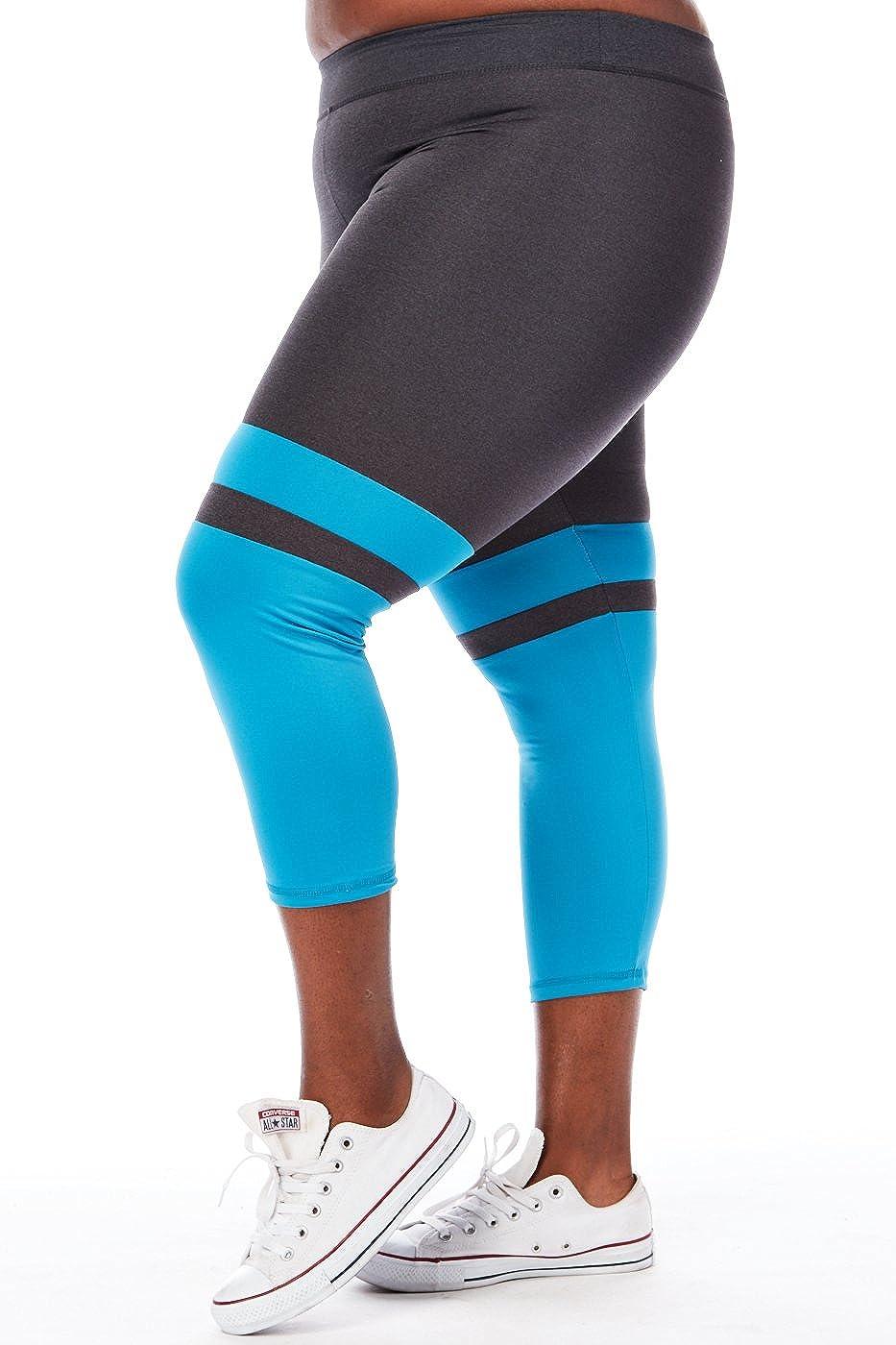 424a1f871c465 GENx Womens Plus Size Color Block Capri Yoga Leggings 21503X at Amazon  Women's Clothing store: